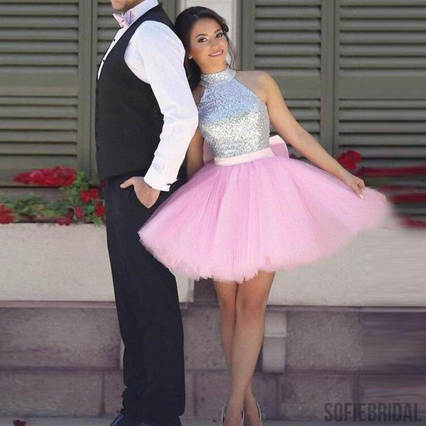 Silver Sequin Top Homecoming Dresses, Pink Homecoming Dresses, Cheap Homecoming Dresses, SF0107