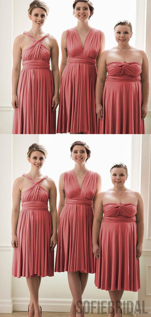 Coral Convertible Short Cheap Bridesmaid Dresses, PD0849