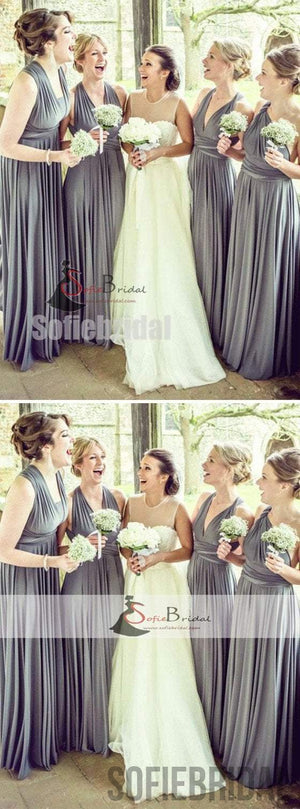 Convertible Grey Jersey Bridesmaid Dresses, Cheap Bridesmaid Dresses, Long Bridesmaid Dresses, PD0492
