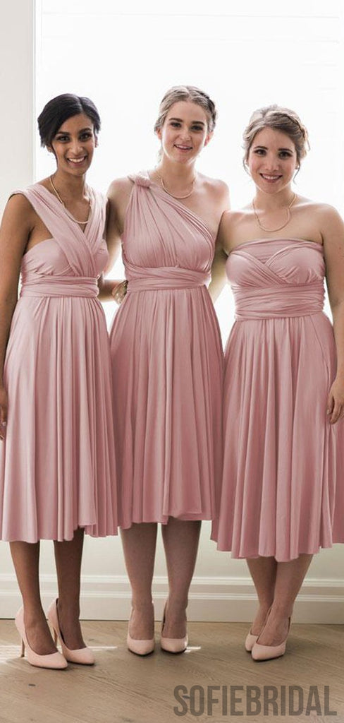 Convertible Blush Pink Cheap Popular Bridesmaid Dresses, PD0848