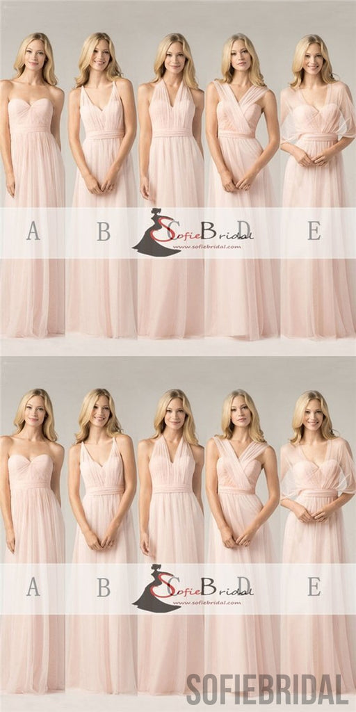 Light Pink Convertible Bridesmaid Dresses, A-line Bridesmaid Dresses, Cheap Bridesmaid Dresses, PD0502