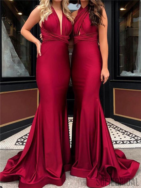 Simple Convertible Long Mermaid Prom/Bridesmaid Dresses, PD0866