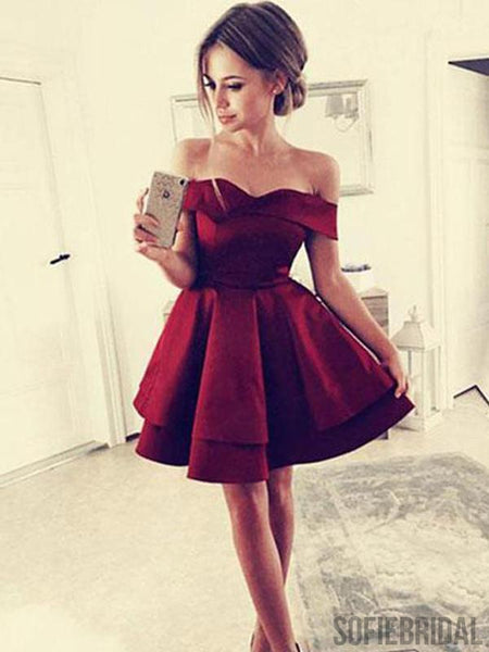 Cheap Simple Off Shoulder Dark Red Homecoming Dresses 2018, CM443