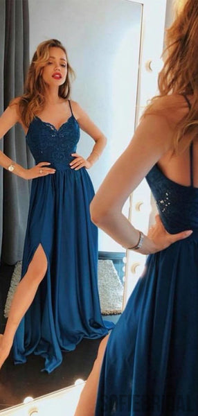 Dark Teal Spaghetti Lace Top Chiffon Long Side Slit Prom Dresses, PD0759