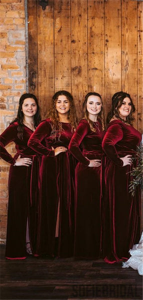 Sheath Long Sleeves V-back Long Burgundy Velvet Bridesmaid Dresses, BD1062