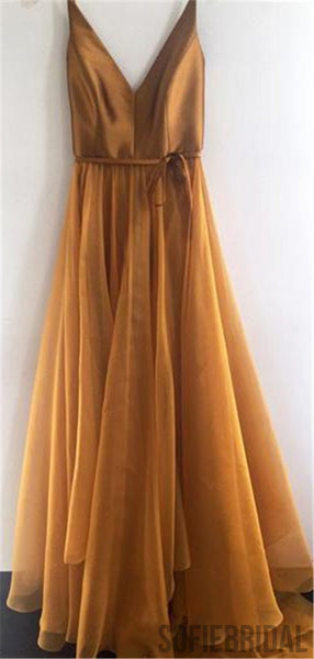 Spaghetti Strap A Line V Neck Formal Cheap Long Prom Dresses, PD0062