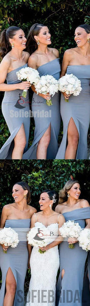 Off Shoulder Dusty blue Bridesmaid Dresses, Side Slit Bridesmaid Dress, Cheap Bridesmaid Dresses, PD0491