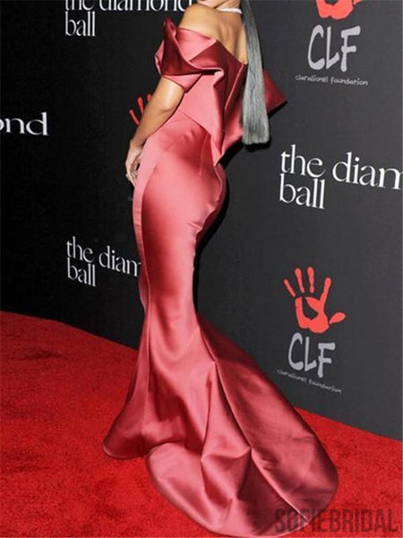 Mermaid Off-shoulder Simple Prom Dress With Ruffles, PD0020