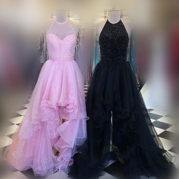 Halter Illusion Beaded Hi-Low Tulle Prom Dresses, Popular Prom Dresses, Long Prom Dresses,PD0338