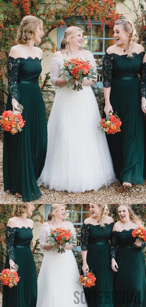 Off Shoulder Long Sleeves Emerald Green Bridesmaid Dresses, PD0898