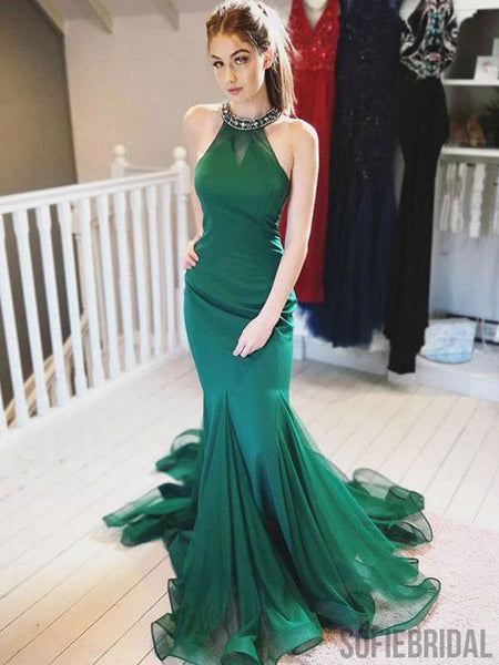 Halter Mermaid Long Emerald Green Prom Evening Dresses, PD0918