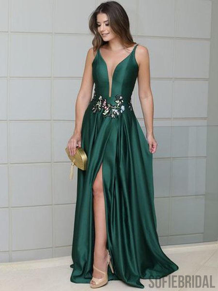 Emerald Green Long Satin Side Slit Embroidery Prom Dresses, PD0790