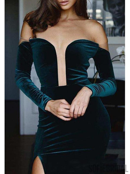 Off Shoulder Dark Green Long Sleeves Prom Dresses, Velvet Prom Dresses, PD0738