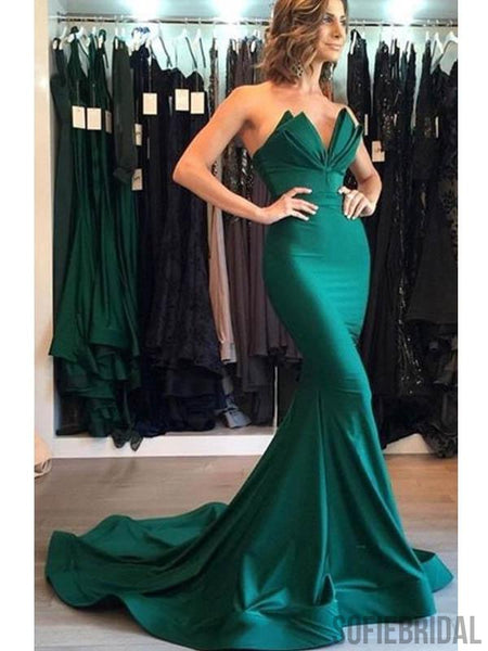 Emerald Green Long Mermaid Popular Prom Dresses, PD0804
