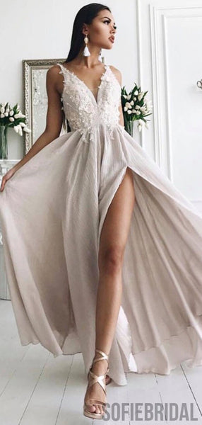 V-neck Long Side Slit Ivory Lace Appliques Prom Dresses, Cheap Prom Dresses, PD0767