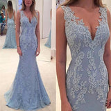 Elegant Sleeveless V-neck Appliques Lace Beaded Long Mermaid Tulle Prom Dresses, PD0291