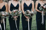 Spaghetti Long Sheath Side Slit Black Bridesmaid Dresses, PD0897