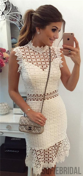 High Neck Sheath Lace Sleeves Knee-length Homecoming Dress, HD0129