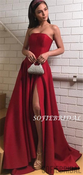 Strapless Newest Simple Dark Red Prom Dresses With Split, PD1048