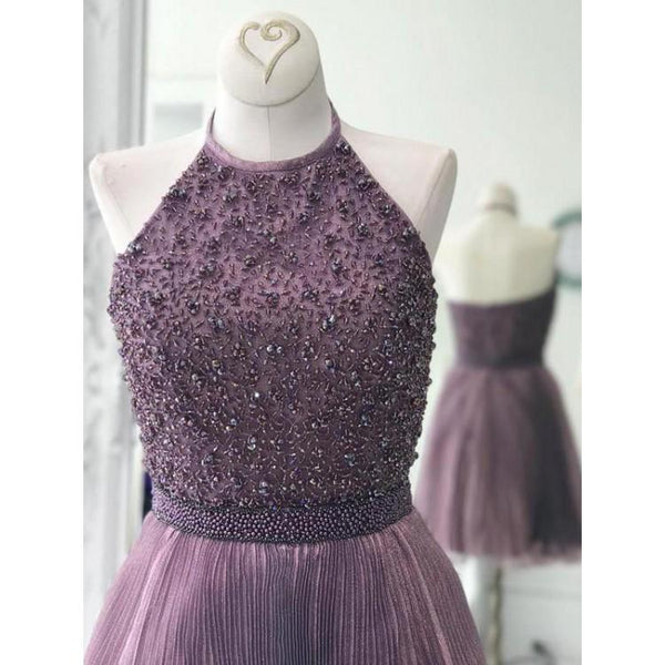 Dusty Purple Beaded Homecoming Dresses, Popular Simple Homecoming Dresses, Homecoming Dresses, SF0103