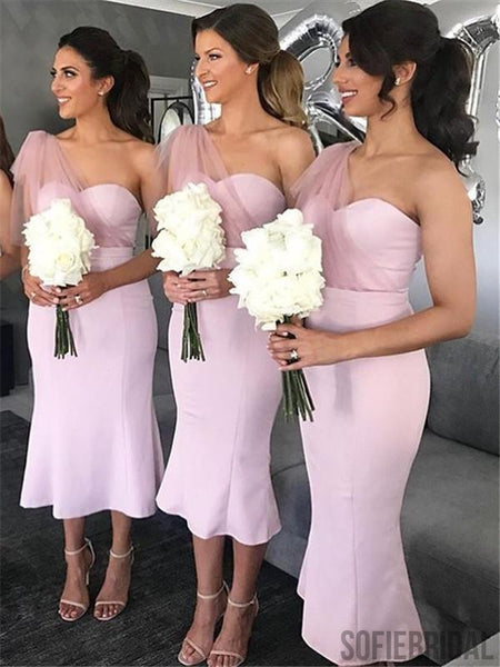 Mermaid One-shoulder Short Pink Bridesmaid Dresses, BD1065