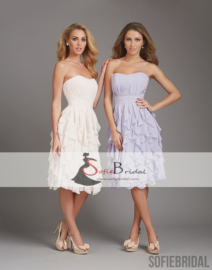 Sweetheart Short Chiffon Bridesmaid Dresses, Lovely Bridal Party Dresses, Bridesmaid Dresses, PD0482
