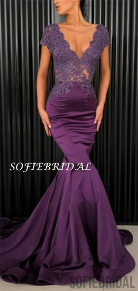 Mermaid V-neck Short Sleeves Lace Top Long Purple Prom Dresses, PD1050