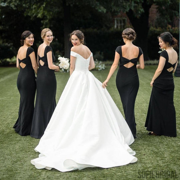 Sheath Beteau Neck Short Sleeves Open-back Black Bridesmaid Dresses, BD1067