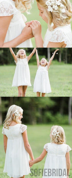 A-Line Round-neck Cap Sleeves Lace Top Flower Girl Dresses, FG091
