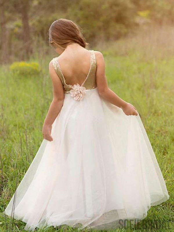 A-line Backless Floor-length Sequins Top Flower Girl Dresses, FG094