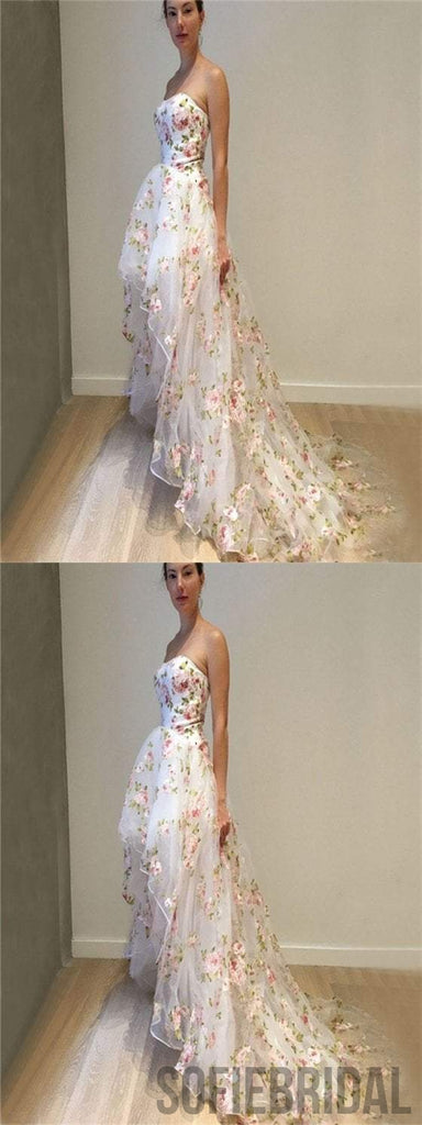 Sweetheart Floral Prom Dresses, Hi-low Prom Dresses, Special Prom Dresses, PD0595