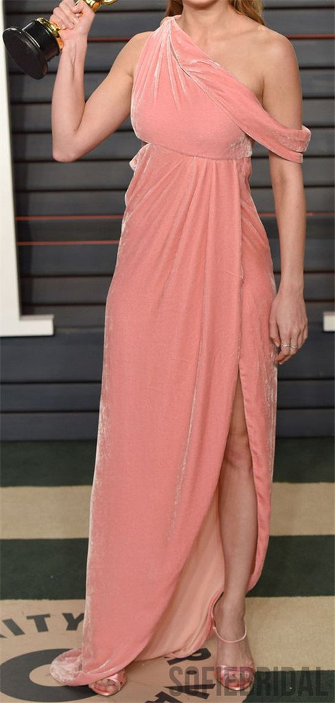 Newest One-shoulder Pink Velvet Cheap Long Prom Dress, PD0017