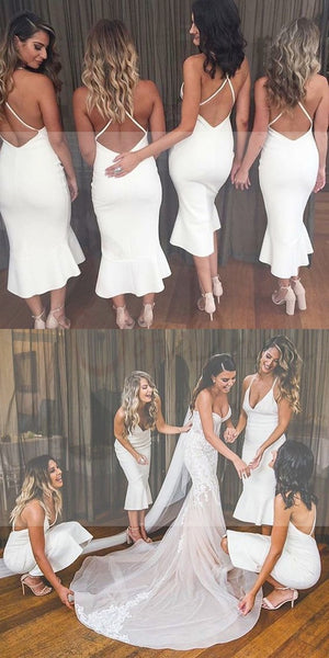 Strap V-neck Bridesmaid Dresses, Mermaid Bridesmaid Dresses, Long Bridesmaid Dresses, WG030