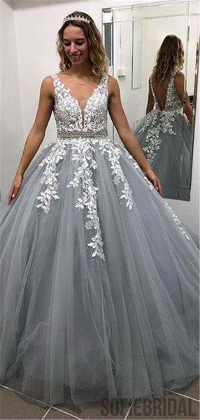 Gray V Neck Appliques Ball Gown with Beading Long Prom Dresses, PD0068