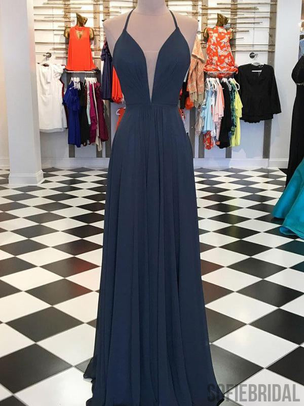 Gray Haler Long A-line Chiffon Lace up Prom/Bridesmaid Dresses, PD0870