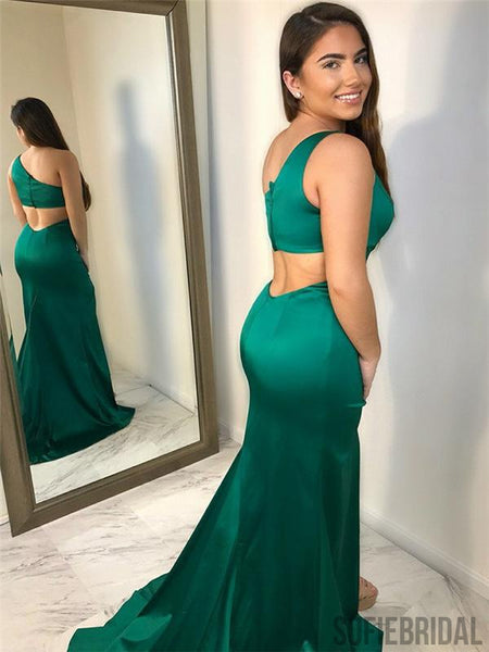 One Shoulder Prom Dresses, Side Slit Prom Dresses, Mermaid Prom Dresses, PD0690