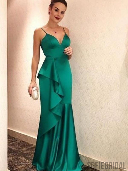 Spaghetti Ruffles Long Mermaid Soft Satin Prom Dresses, PD0872