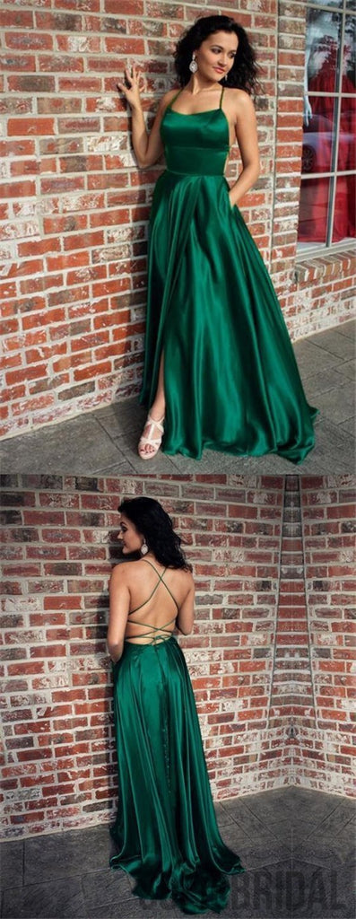 Green Satin Prom Dresses, Side Slit Prom Dresses, Cheap Prom Dresses, Long Prom Dresses, PD0662