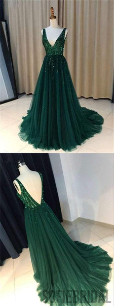 V-neck Green Sequin Tulle Prom Dresses, Lovely Prom Dresses, Prom Dresses, PD0594
