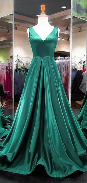 Emerald Green V-neck Long A-line Satin Prom Dresses, PD0799