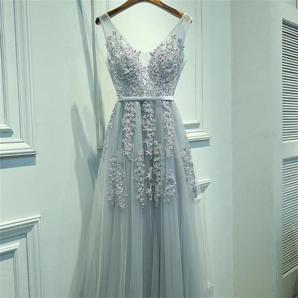 Simple Design Lace Beaded Long A-line Tulle V-back Zip Up Prom Dresses, PD0295
