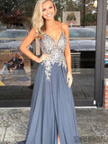 Spaghetti Lace Prom Dresses, A-line Side Slit Prom Dresses, Cheap Prom Dresses, PD0671