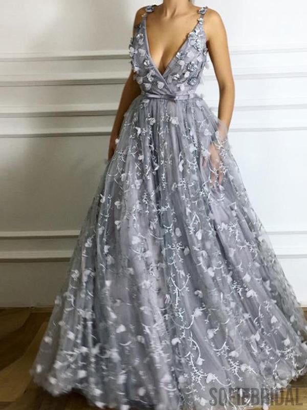 V-neck Grey Floral Prom Dresses, A-line Prom Dresses, Cheap Prom Dresses, PD0680