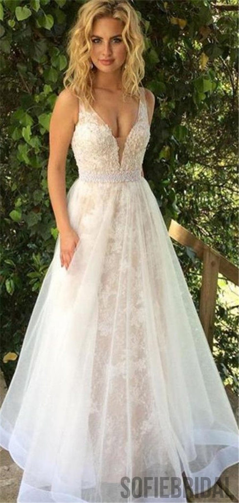 1407bfee5 A-line Deep V-neck Lace Appliques Long Tulle Prom Dresses, PD0037 –  SofieBridal