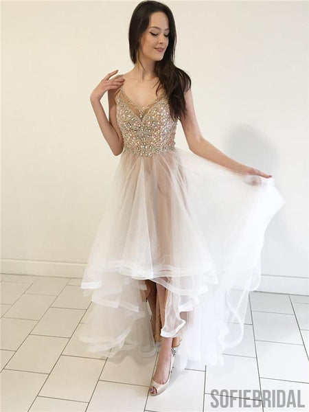 V-neck Beaded Rhinestone Prom Dresses, Hi-low Prom Dresses, Newest Prom Dresses, PD0634