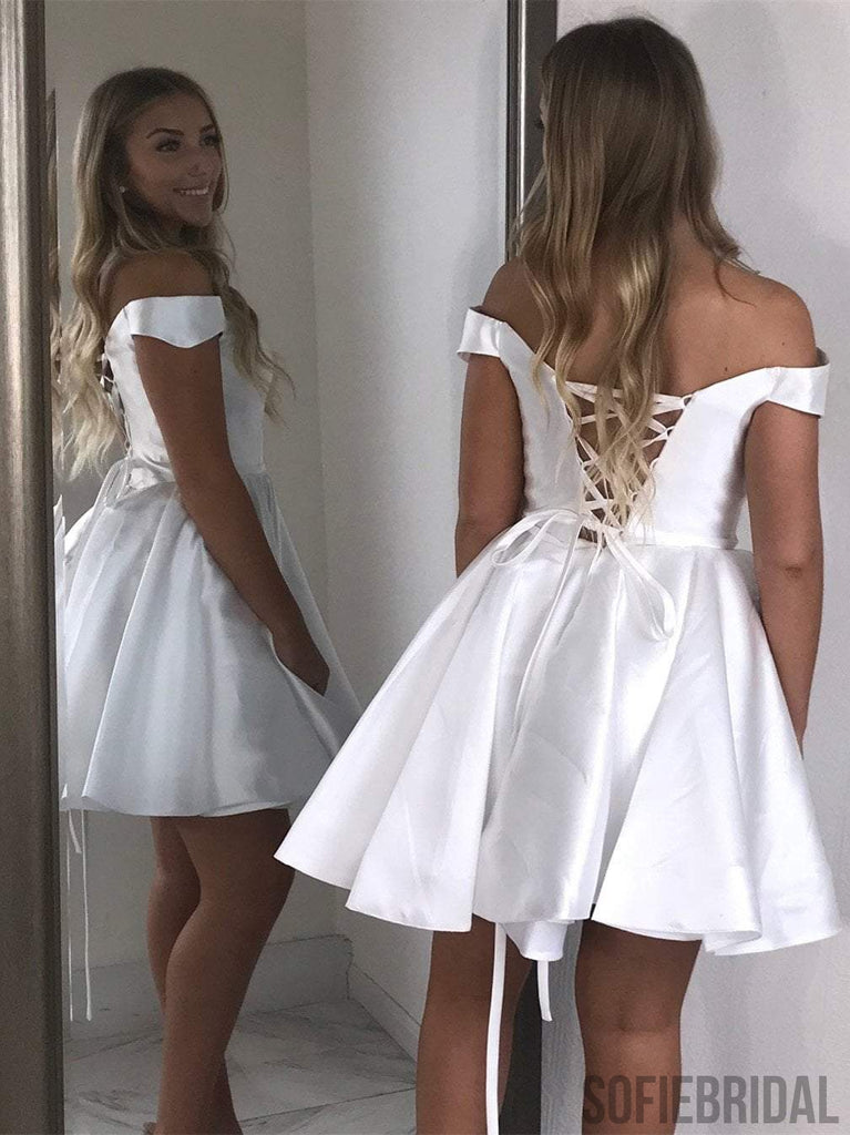 Off Shoulder Satin Homecoming Dresses, Lace Up Homecoming Dresses, Homecoming Dresses, CM504