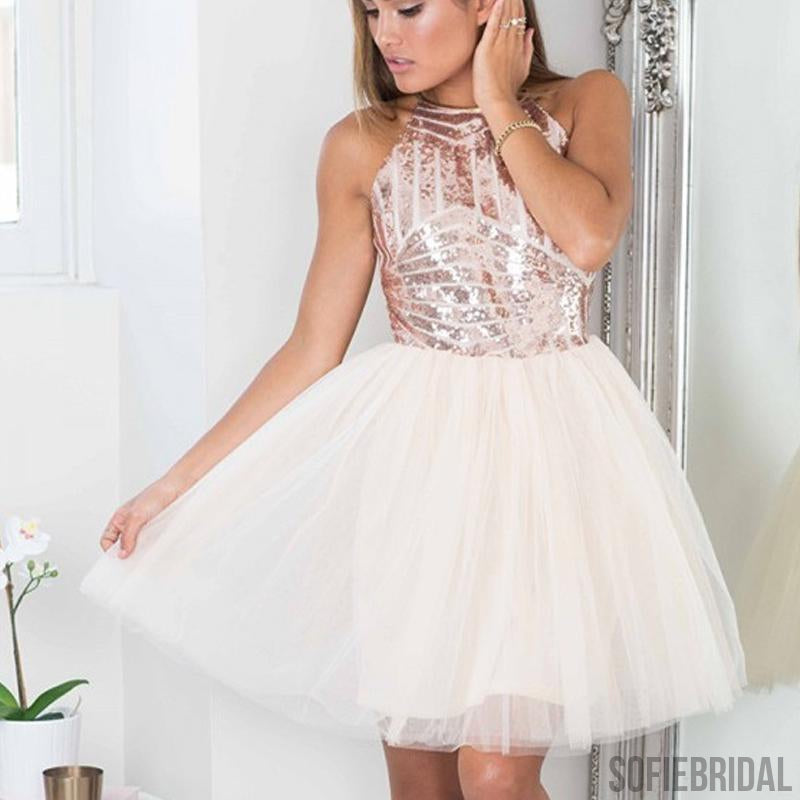 Sequin Top Tulle Homecoming Dresses, Homecoming Dresses, Cheap Homecoming Dresses, SF0122