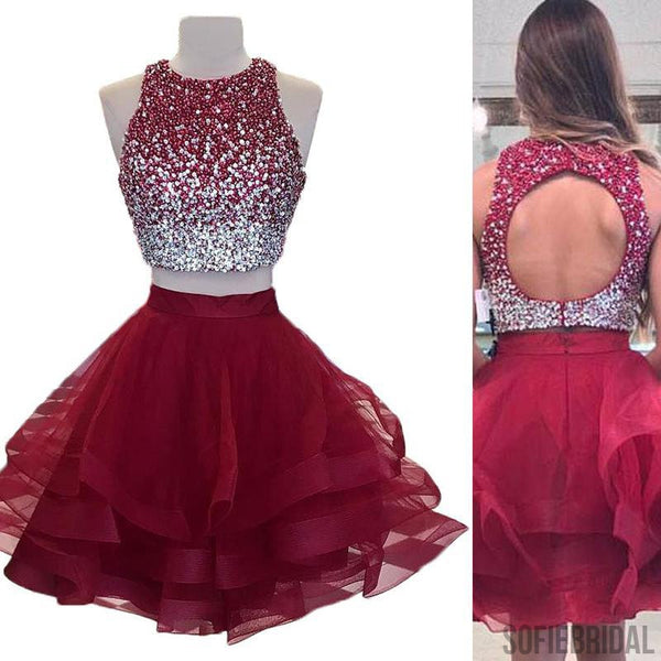 2 Pieces Beaded Tulle Homecoming Dresses, Open Back Homecoming Dresses, Homecoming Dresses, SF0123