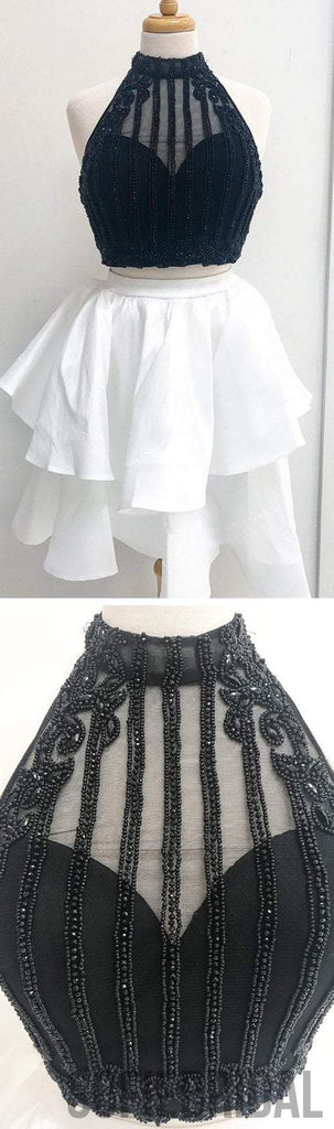 2 Pieces Beaded Homecoming Dresses, High Neck Homecoming Dresses, Homecoming Dresses, SF0109