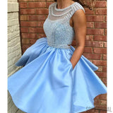 Light Blue Satin Homecoming Dresses, Beaded Open Back Homecoming Dresses, Homecoming Dresses, SF0114